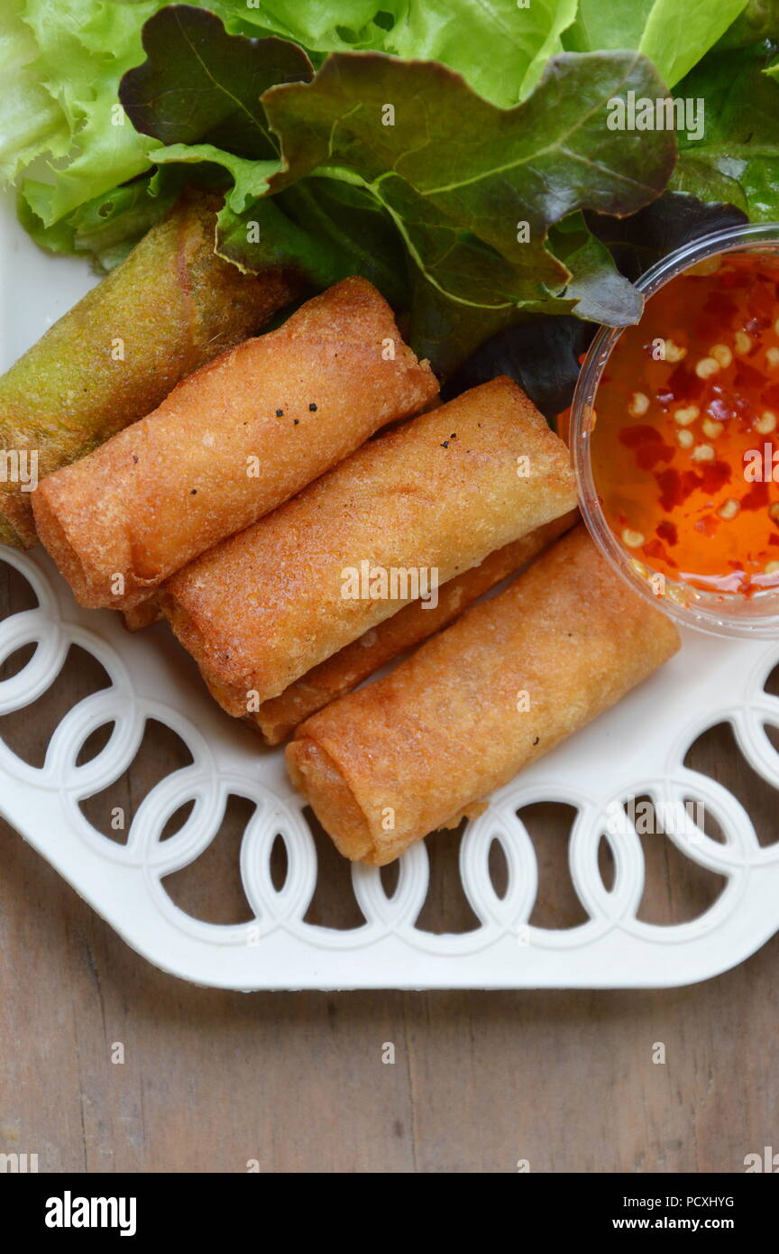 Deep Fried Spring Roll And Sweet Chili Sauce On Dish Stock Photo Alamy