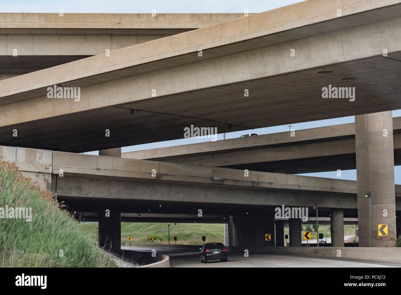 Ontario, Canada.  Exit from Highway 407 ETR east onto Highway 400 north in summer. - Stock Image