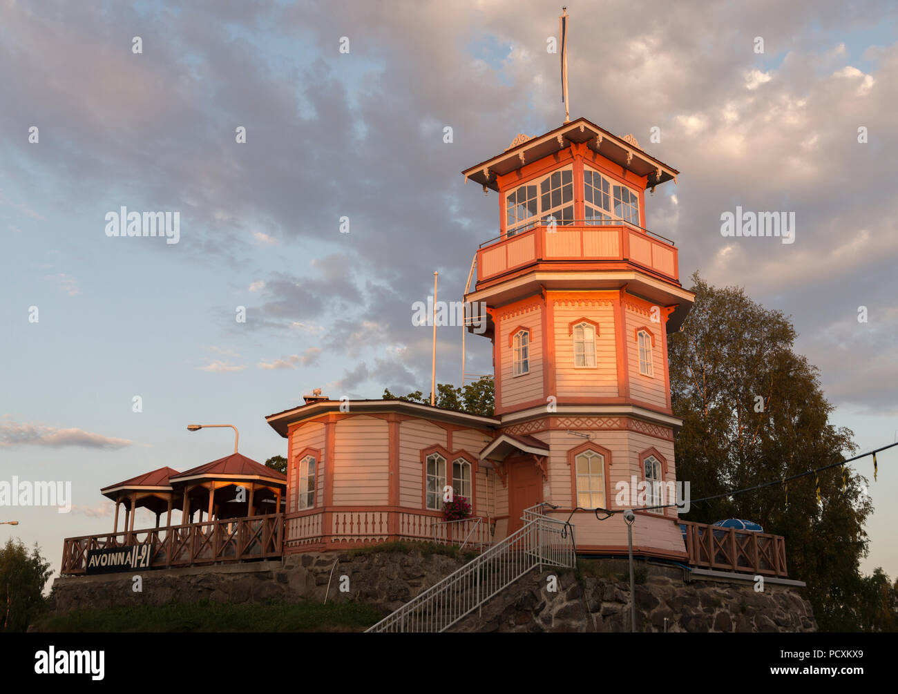 Oulu Castle, cafeteria build on the ruins of a medieval castle in Oulu, Finland - Stock Image