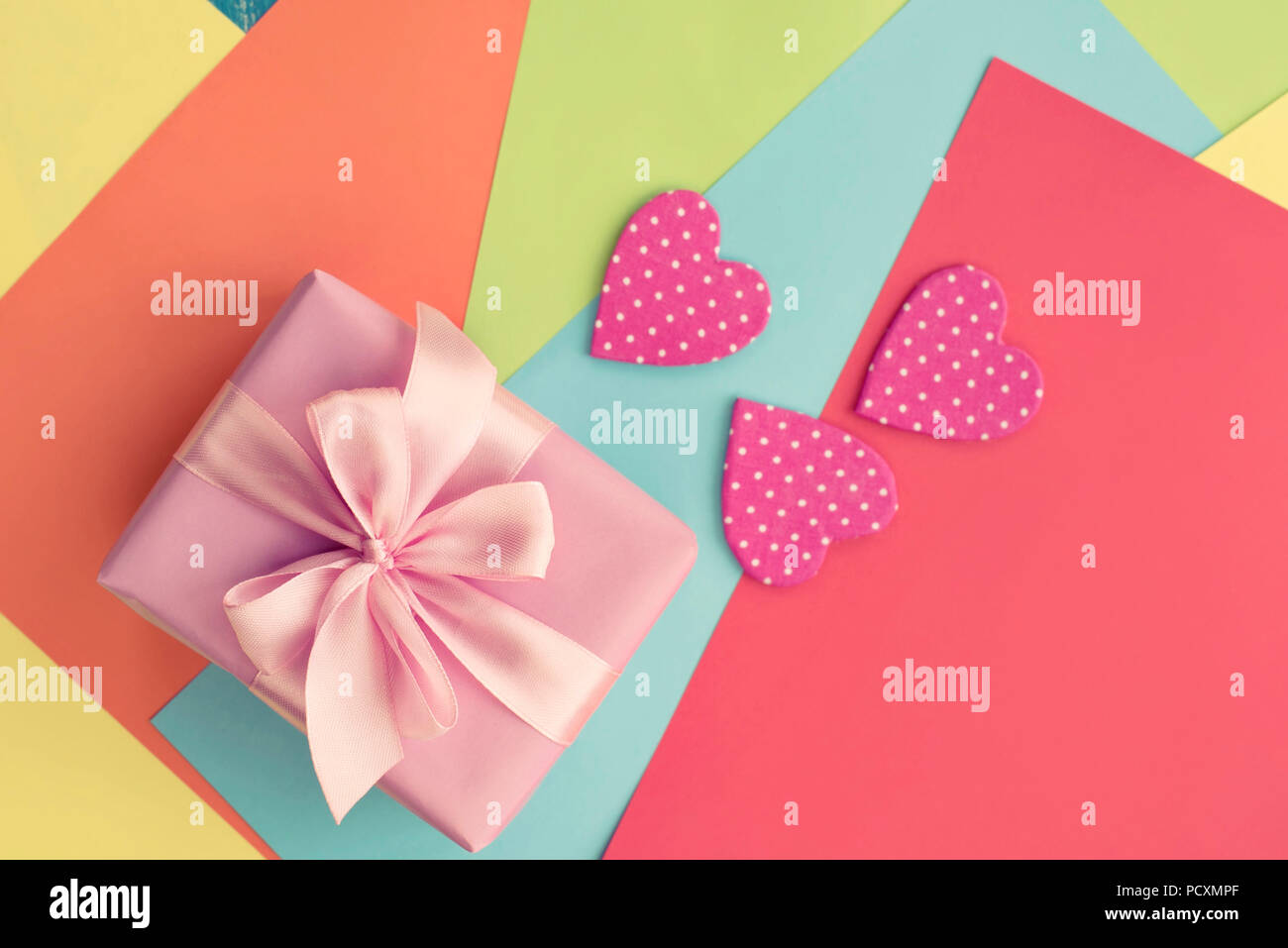 Colored Sheets Of Paper Decorative Heart Valentine S Day Gift Box