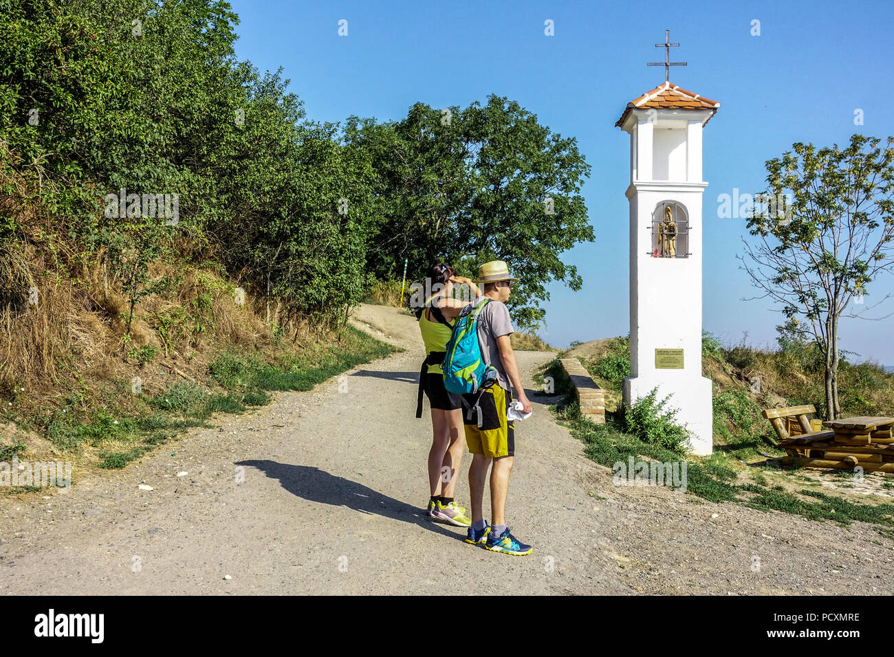 Tourists in the wine region under the Palava mountains, hiking, Pavlov village, South Moravia, Czech Republic - Stock Image
