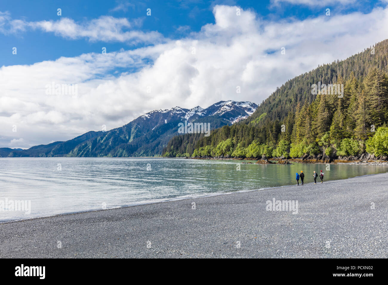 People on bech at Lowell Point on Resurrection Bay in Seward Alaska - Stock Image
