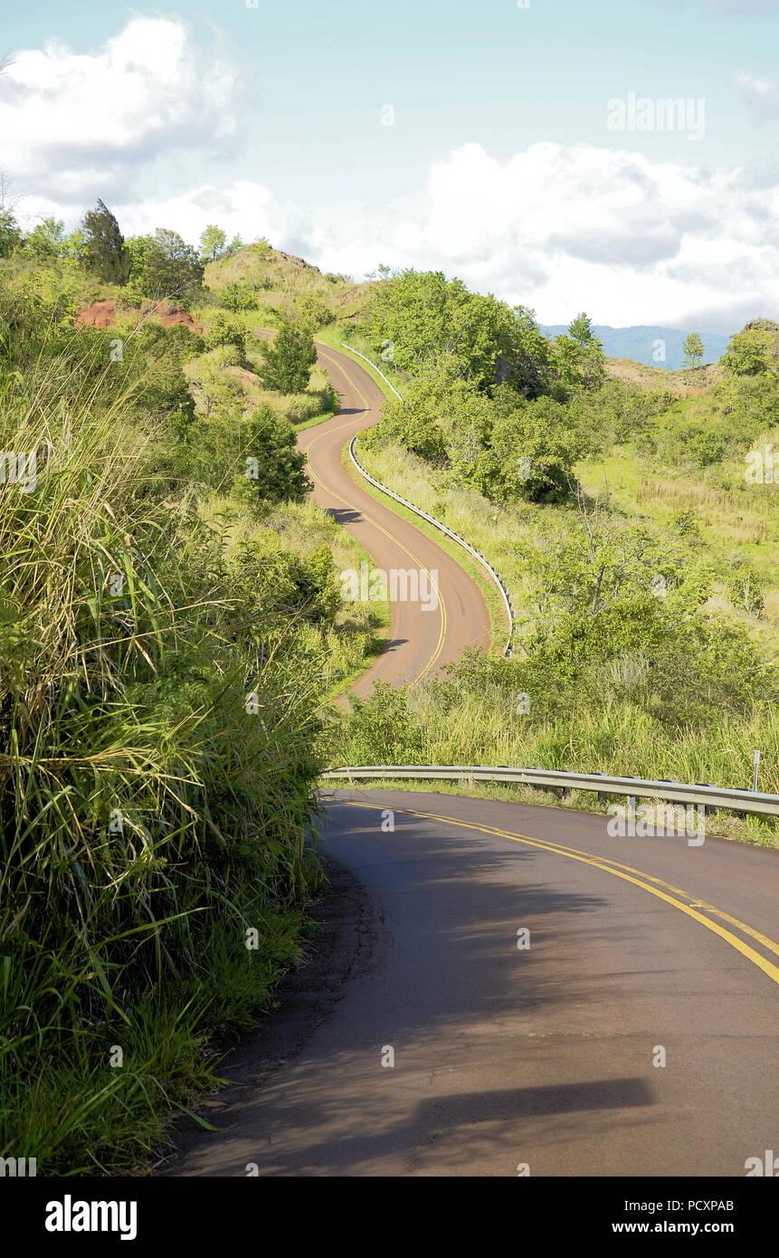 Winding road on the way to the Waimea Canyon overlook in Kauai, Hawaii, United States. - Stock Image
