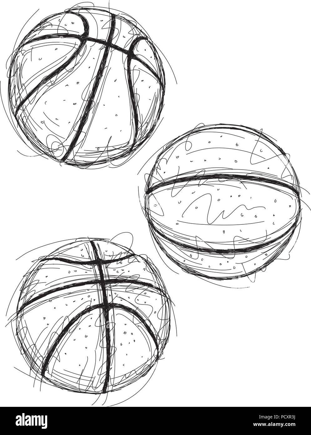 Basketball sketches - Stock Image