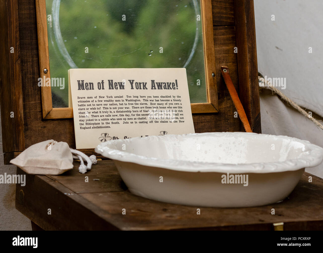 Duncans Mills, CA - July 14, 2018: Sign at a Northern California's Civil war reenactment remembering the New York City draft riots (Draft Week) when t - Stock Image