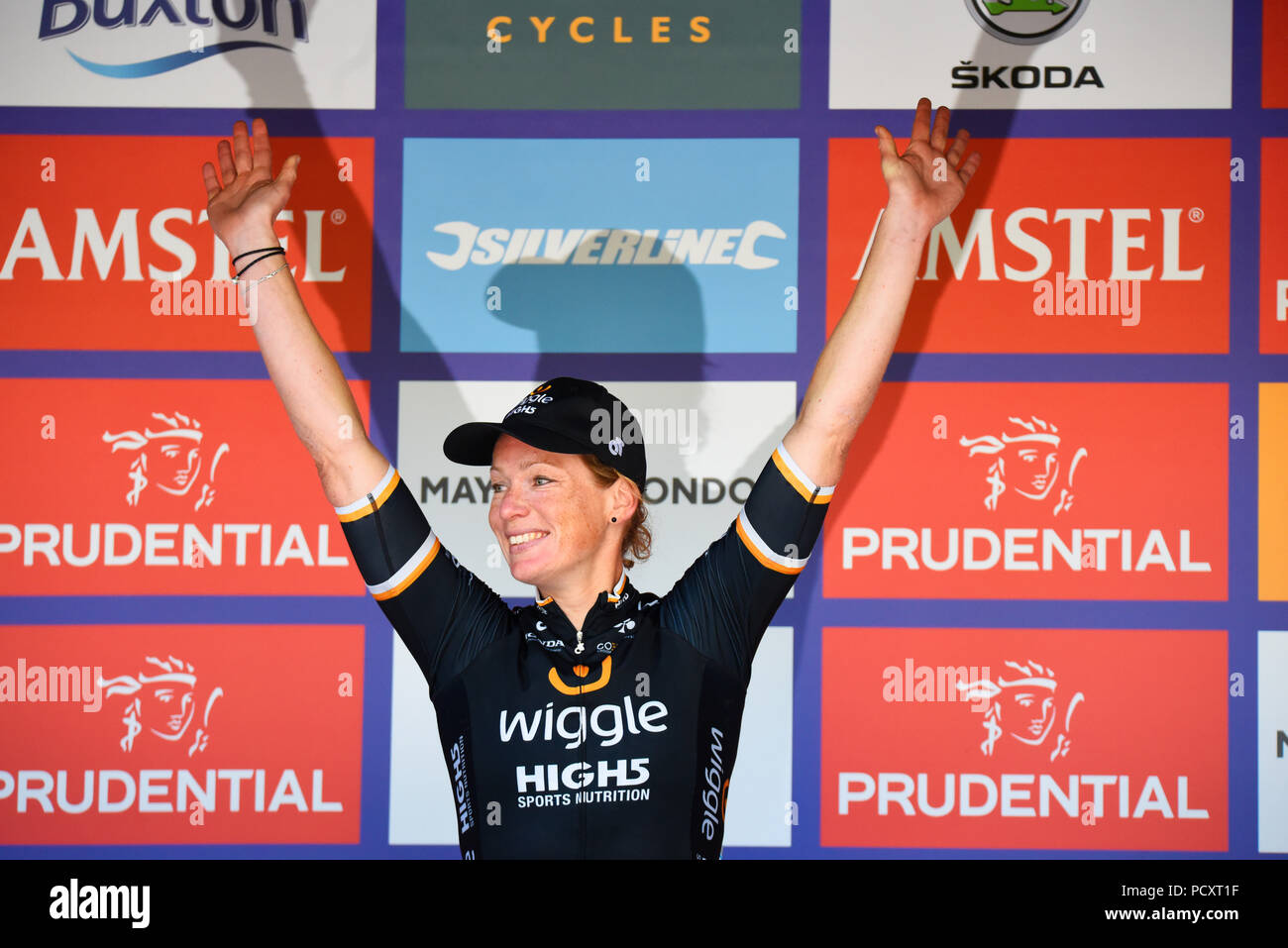 Kirsten Wild of team Wiggle High5 after winning the Prudential RideLondon Classique women's cycle race. Podium Stock Photo