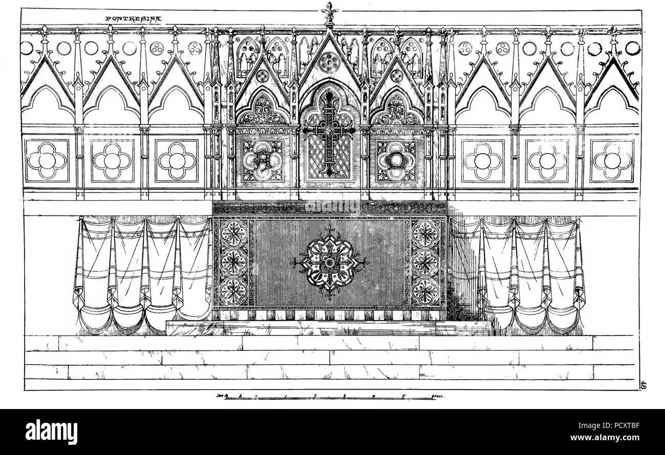 Altar Frontal Holy Trinity Church Pontresina Pullan. - Stock Image