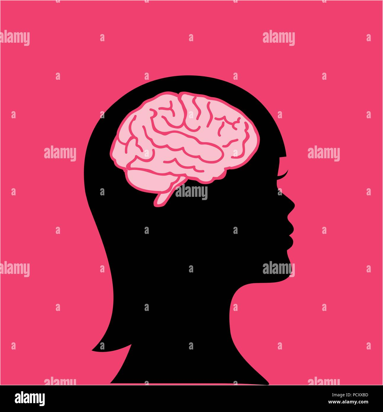 young woman with a big brain vector illustration - Stock Image