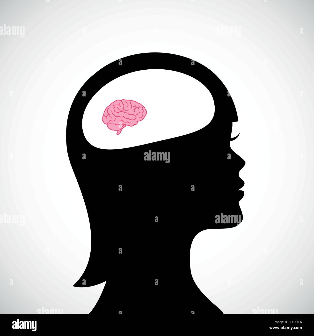 woman with small brain thinking vector illustration - Stock Image