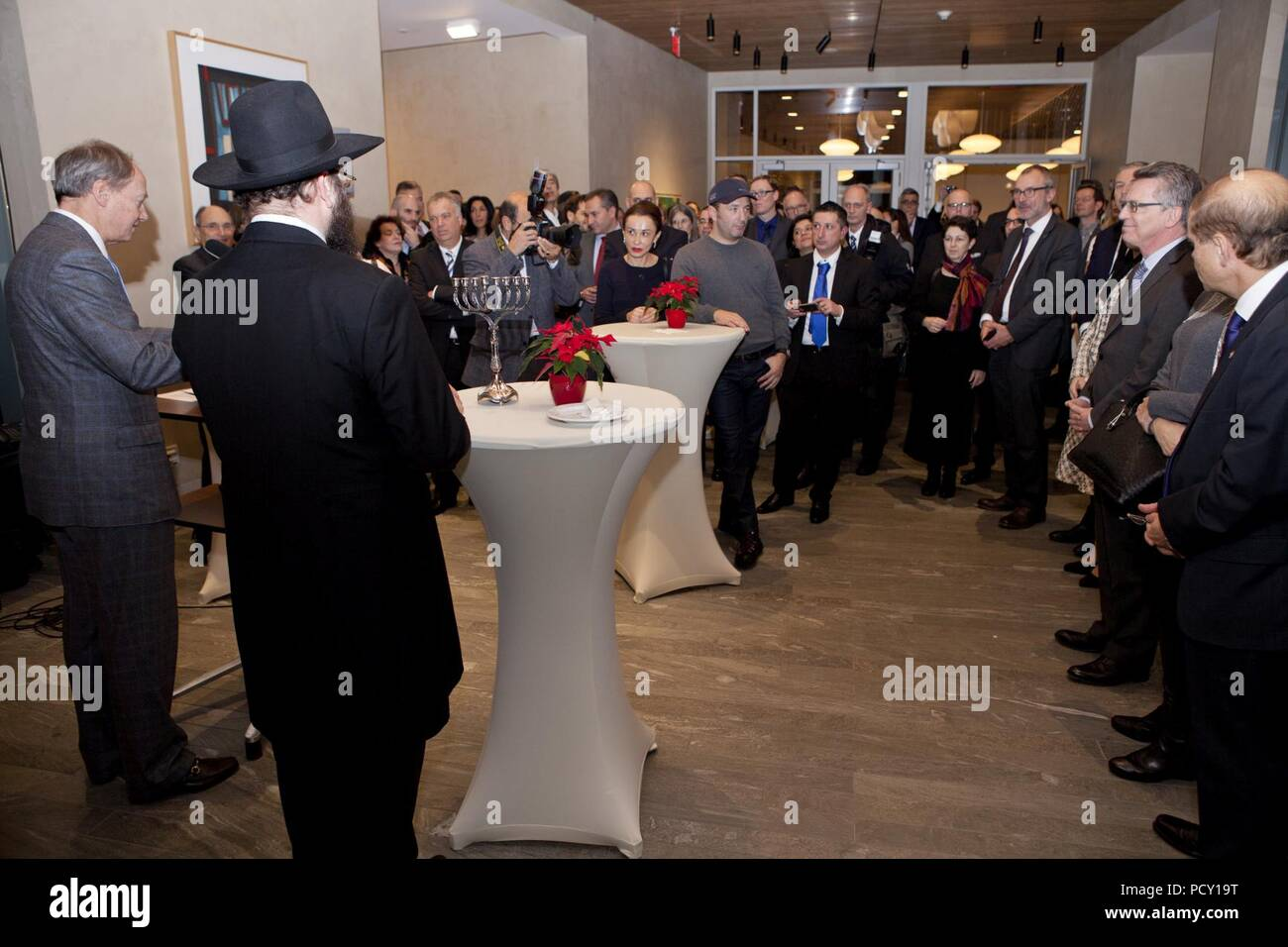 Ambassador Emerson speaking at the Chanukkah reception in the Embassy - Stock Image