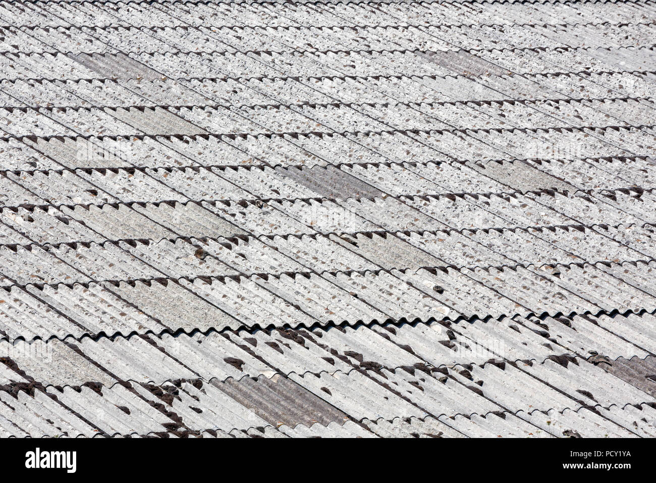 Surface of an old large corrugated Asbestos Cement or AC sheet or Fibro sheeted roof. - Stock Image