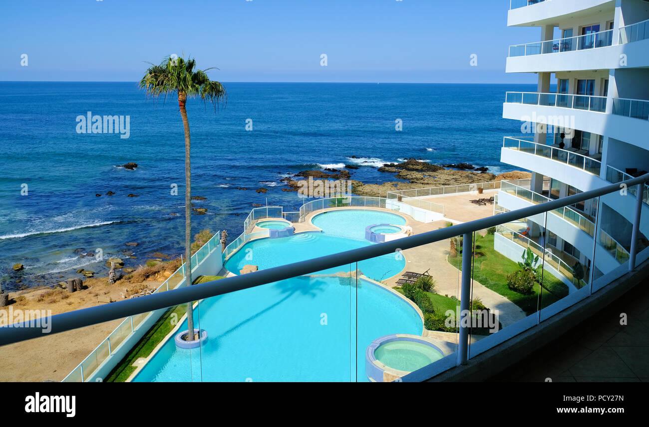 View of the Pacific Ocean from the Las Palmas condominium tower in Rosarito, Baja California, Mexico. - Stock Image