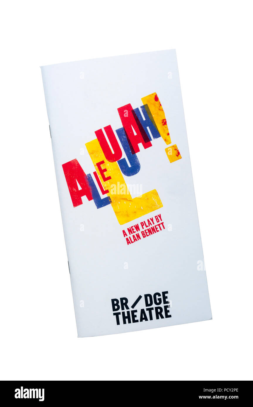 Theatre programme for 2018 production of Allelujah!, a new play by Alan Bennett at the Bridge Theatre. - Stock Image