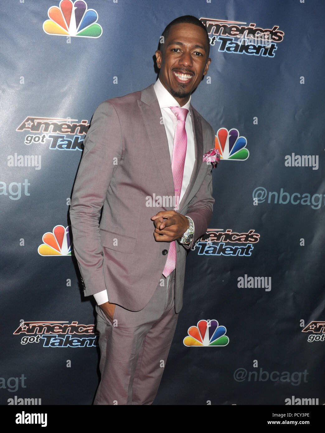 NEW YORK, NY - AUGUST 19: Nick Cannon attends 'America's Got Talent' post-show red carpet event at Radio City Music Hall on August 19, 2015 in New York City.   People:  Nick Cannon Stock Photo