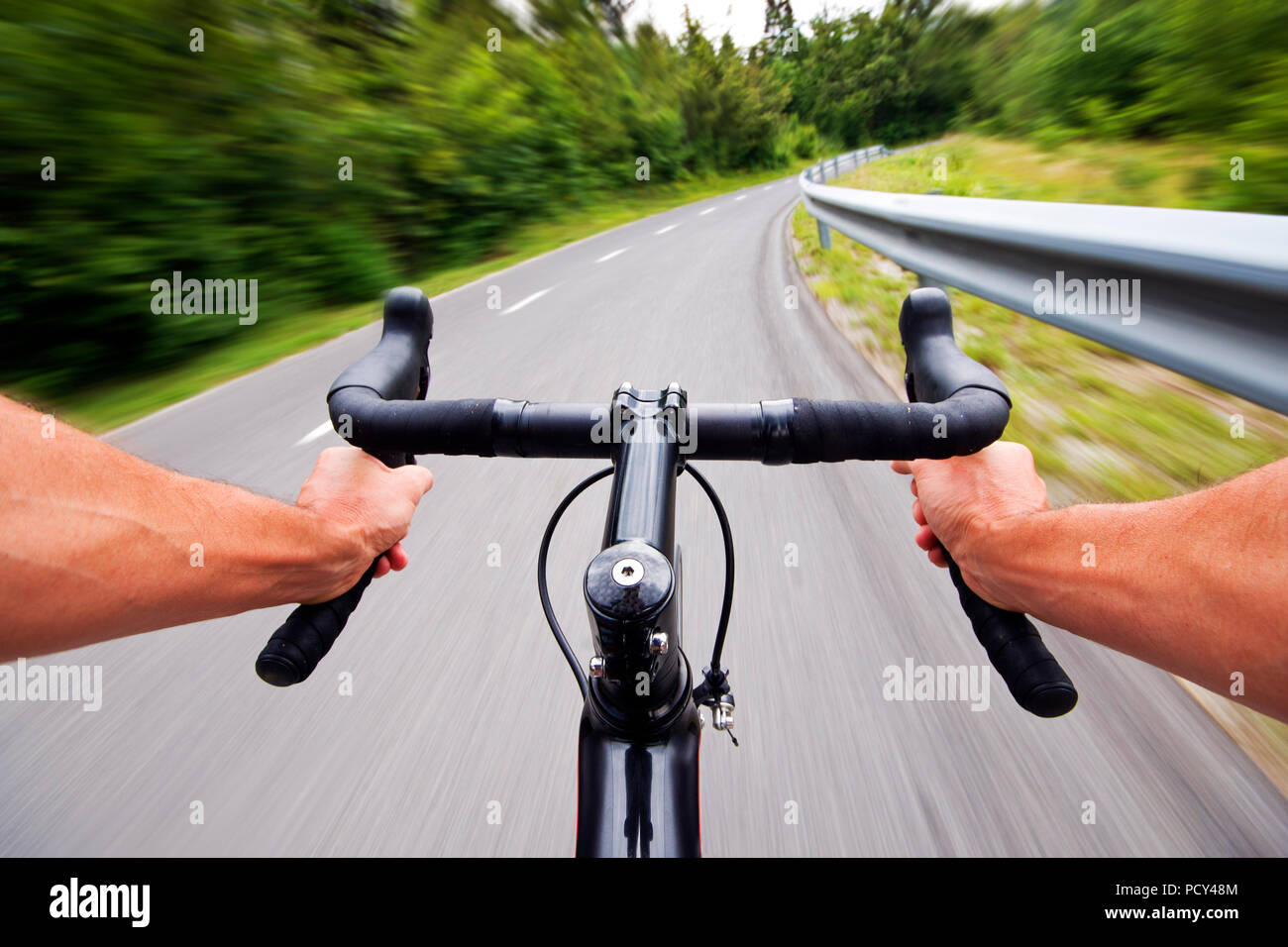 Road cycling wide angle speed shoot - exclusive images - Stock Image