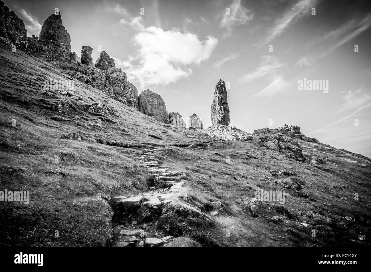 Walking around the dramatic landscape of the Old Man of Storr in Skye on a hot summers day. No one around, and peace and quiet. - Stock Image
