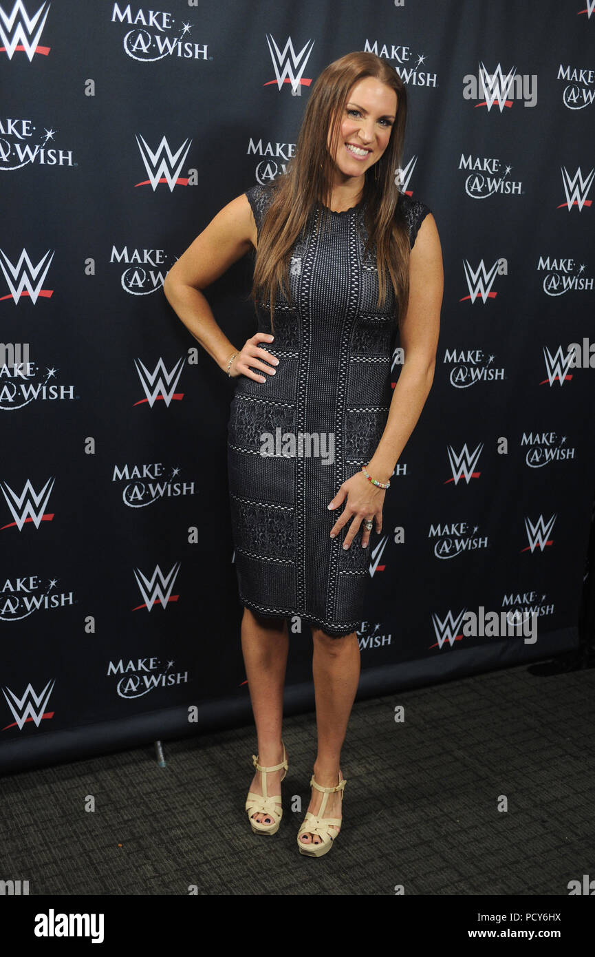 NEW YORK, NY - AUGUST 21: Stephanie McMahon attends John Cena and Make-A-Wish celebration of his 500th Wish Granting Milestone at Dave & Buster's Time Square on August 21, 2015 in New York City  People:  Stephanie McMahon - Stock Image
