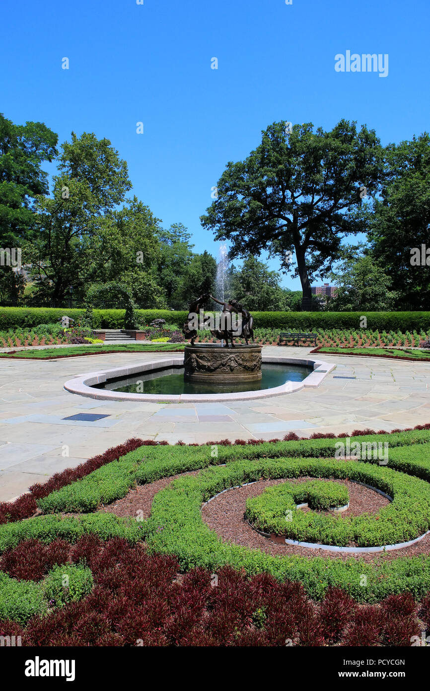 Untermeyer Fountain in the beautiful Conservatory Garden - the only formal garden in Central Park, Manhattan on JULY 4th, 2017 in New York, USA. (Phot Stock Photo