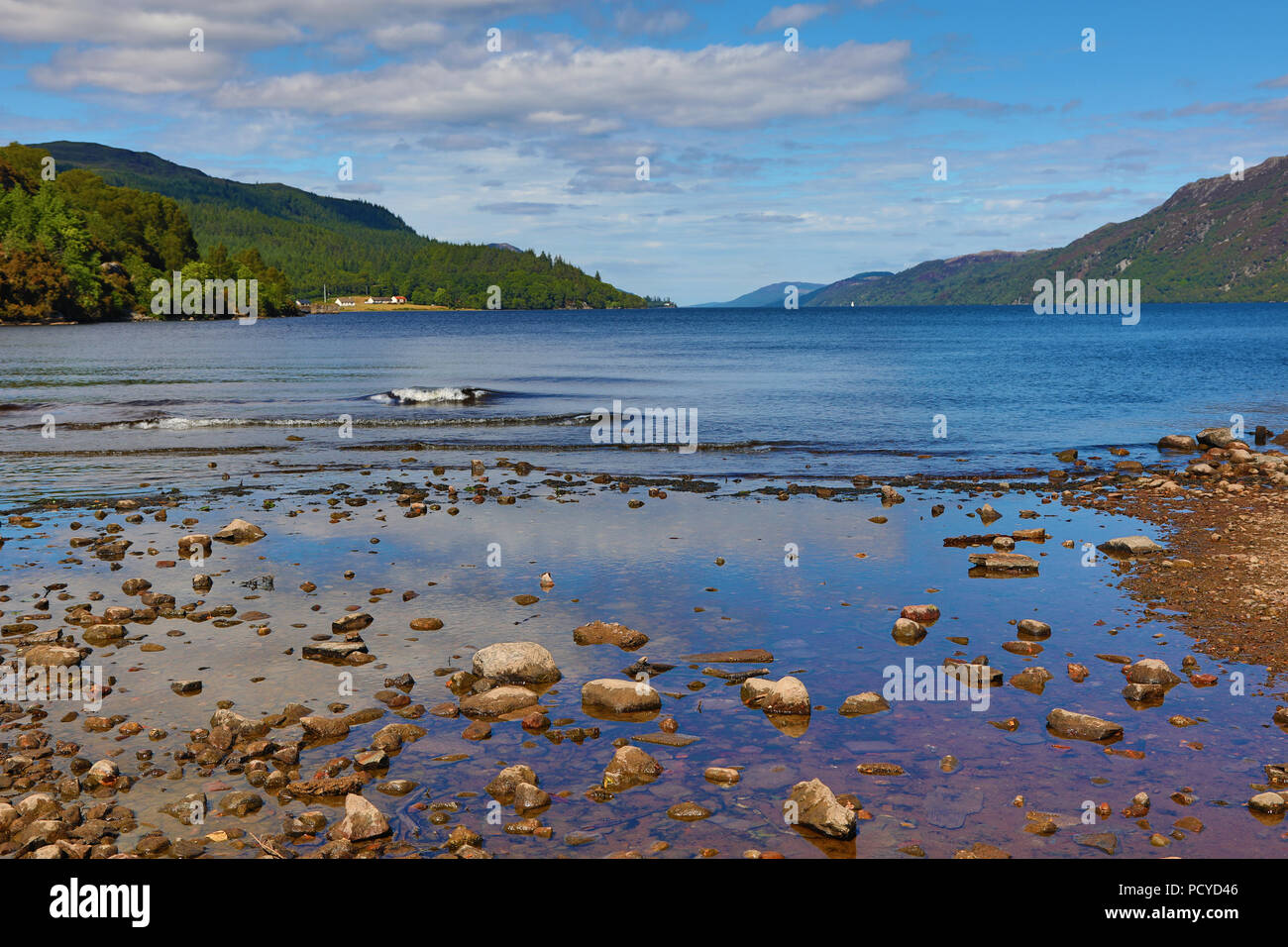 Loch Ness in the Scottish Highlands from Fort Augustus, Scotland - Stock Image