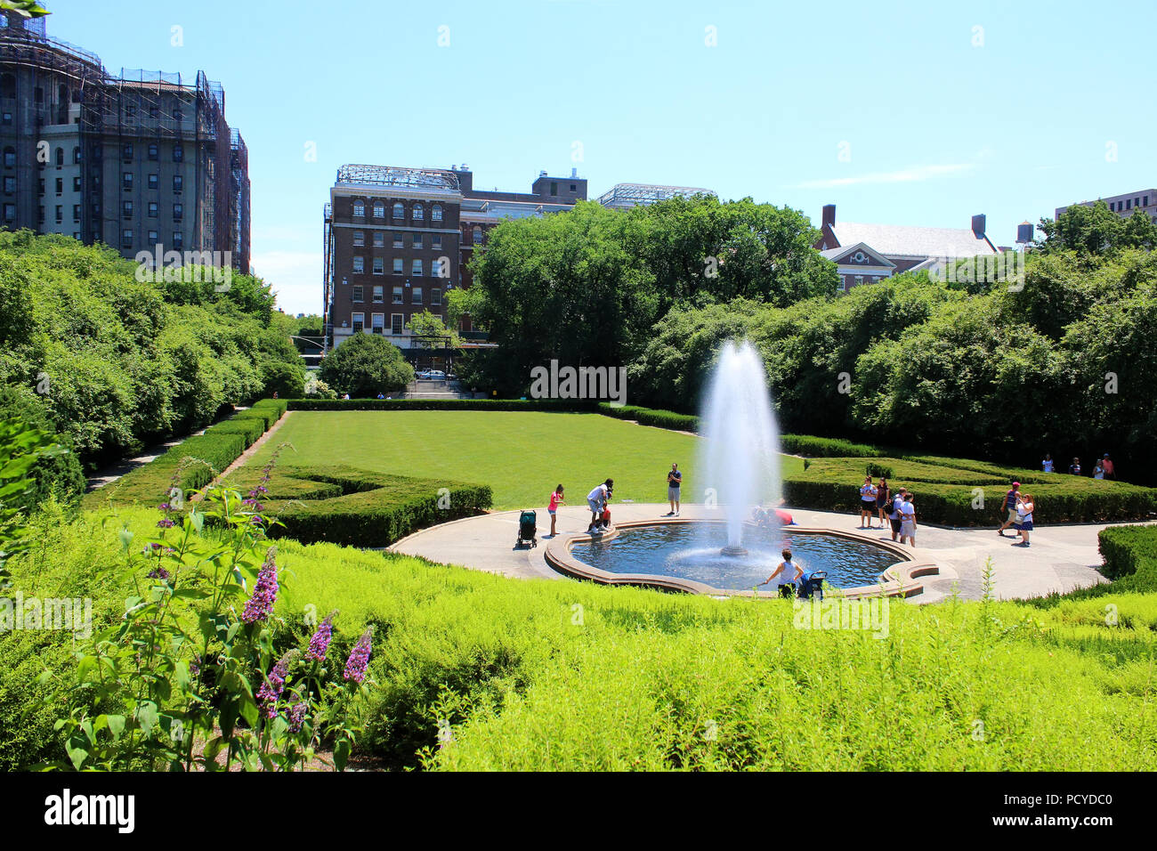 Beautiful Conservatory Garden is the only formal garden in Central Park, Manhattan on JULY 4th, 2017 in New York, USA. (Photo by Wojciech Migda) Stock Photo