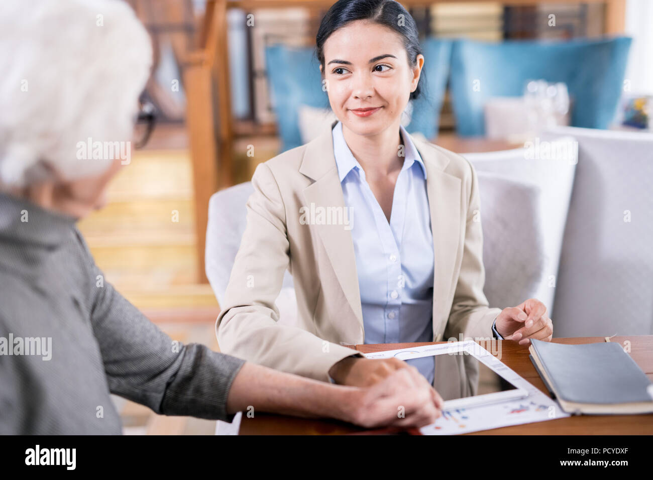 Insurance agent at work - Stock Image