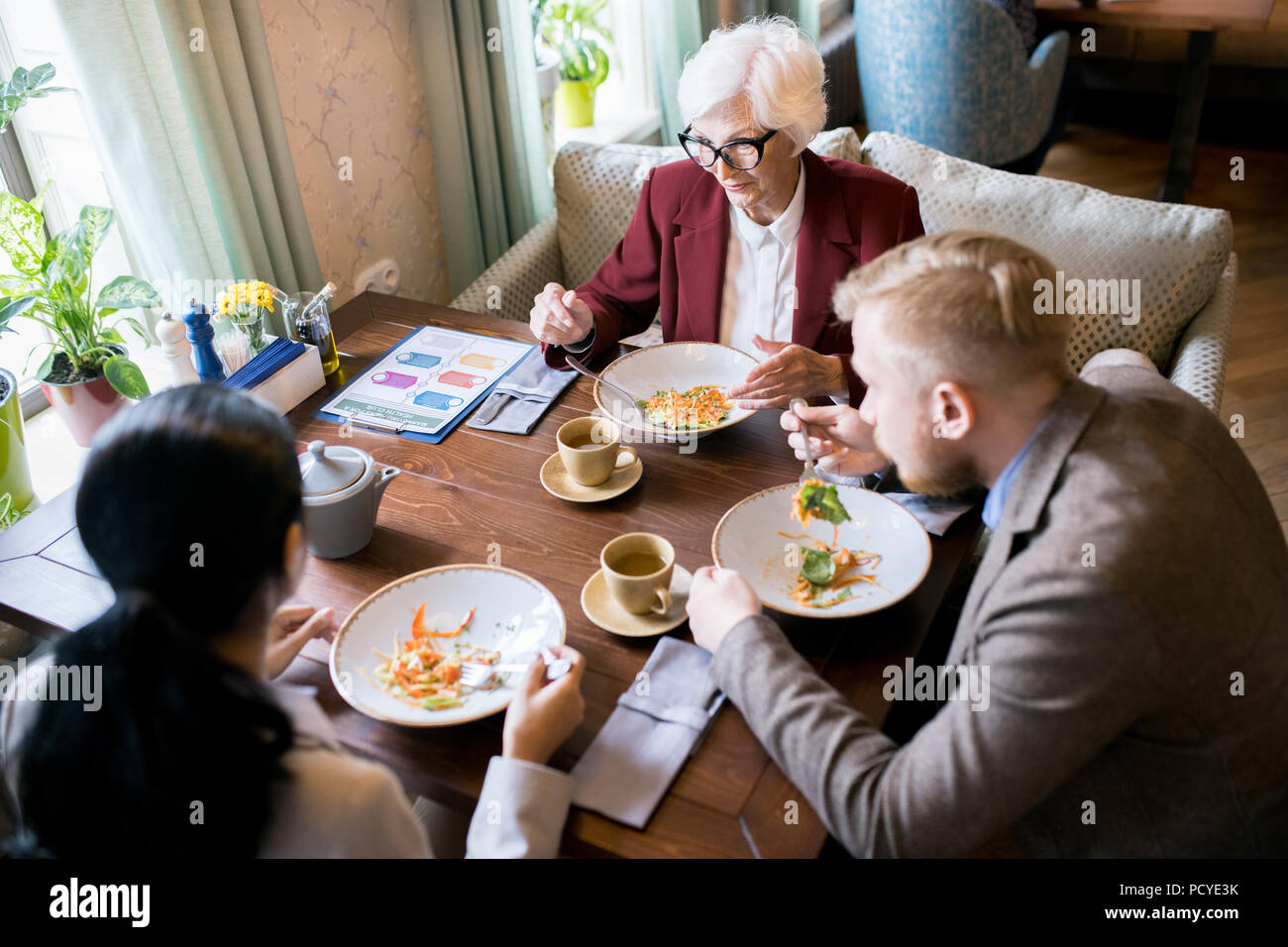 Business meeting at the restaurant - Stock Image