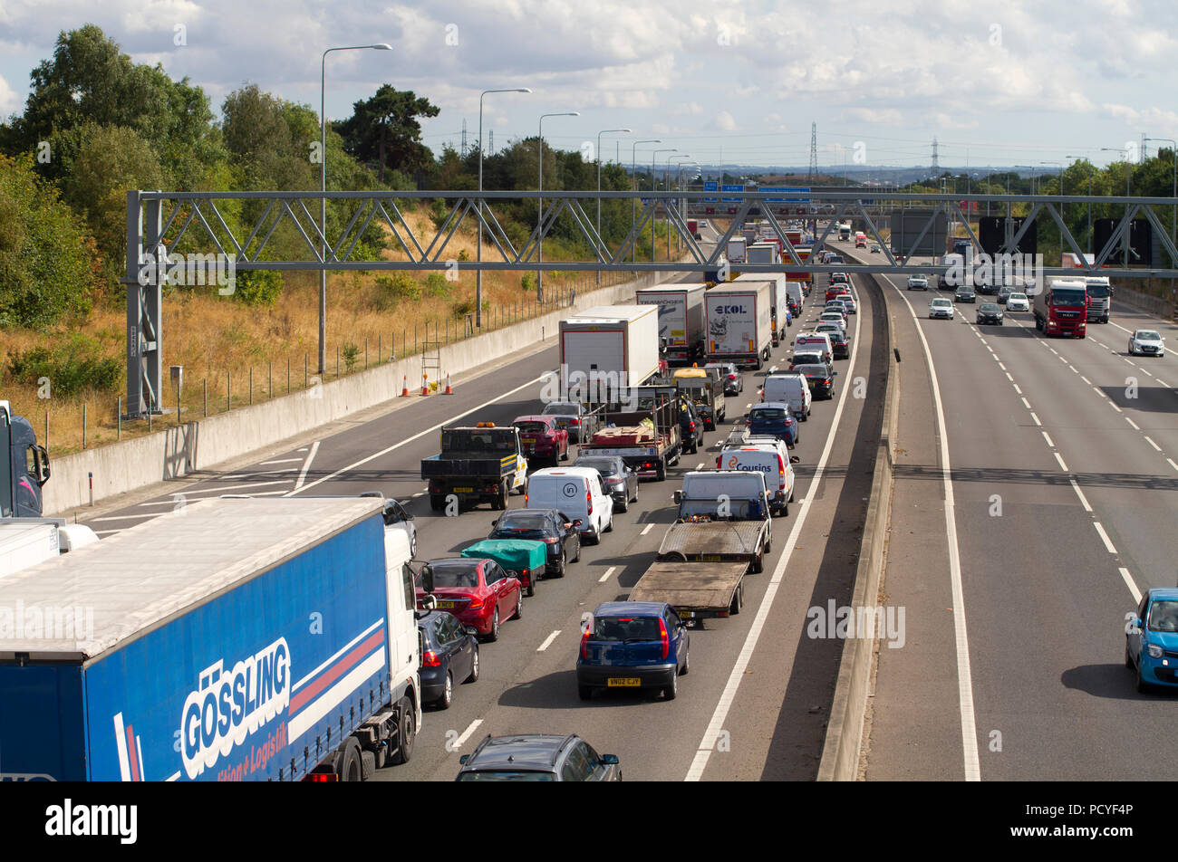 M25 traffic jam on the approach to the Dartford River Crossing at West Thurrock in Essex. - Stock Image