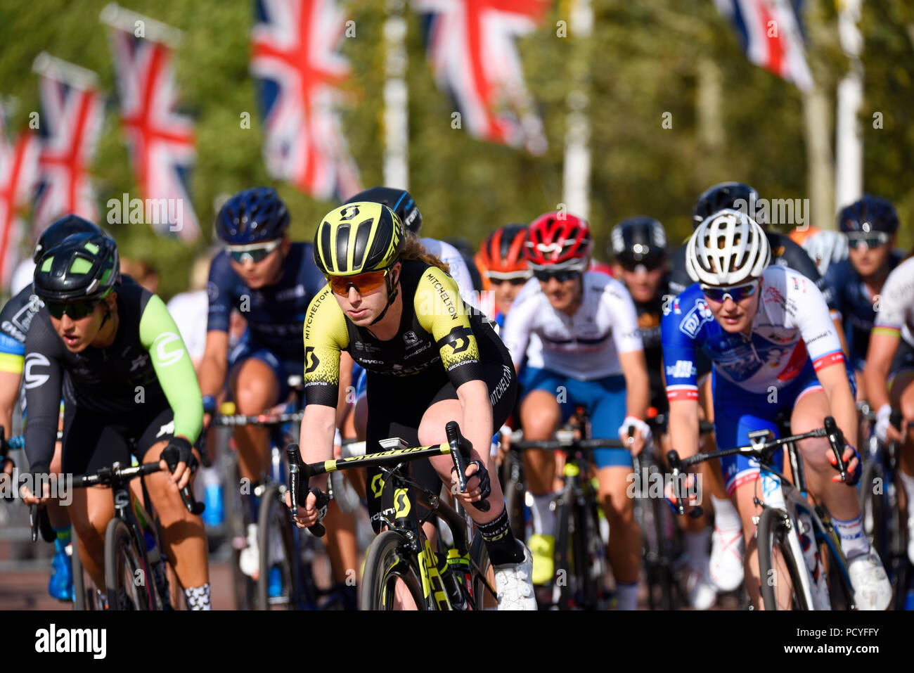 Alexandra Manly cyclist rider of Mitchelton Scott leading peloton at the Prudential  RideLondon Classique women s cycle race. Female. The Mall b4d53e1a9