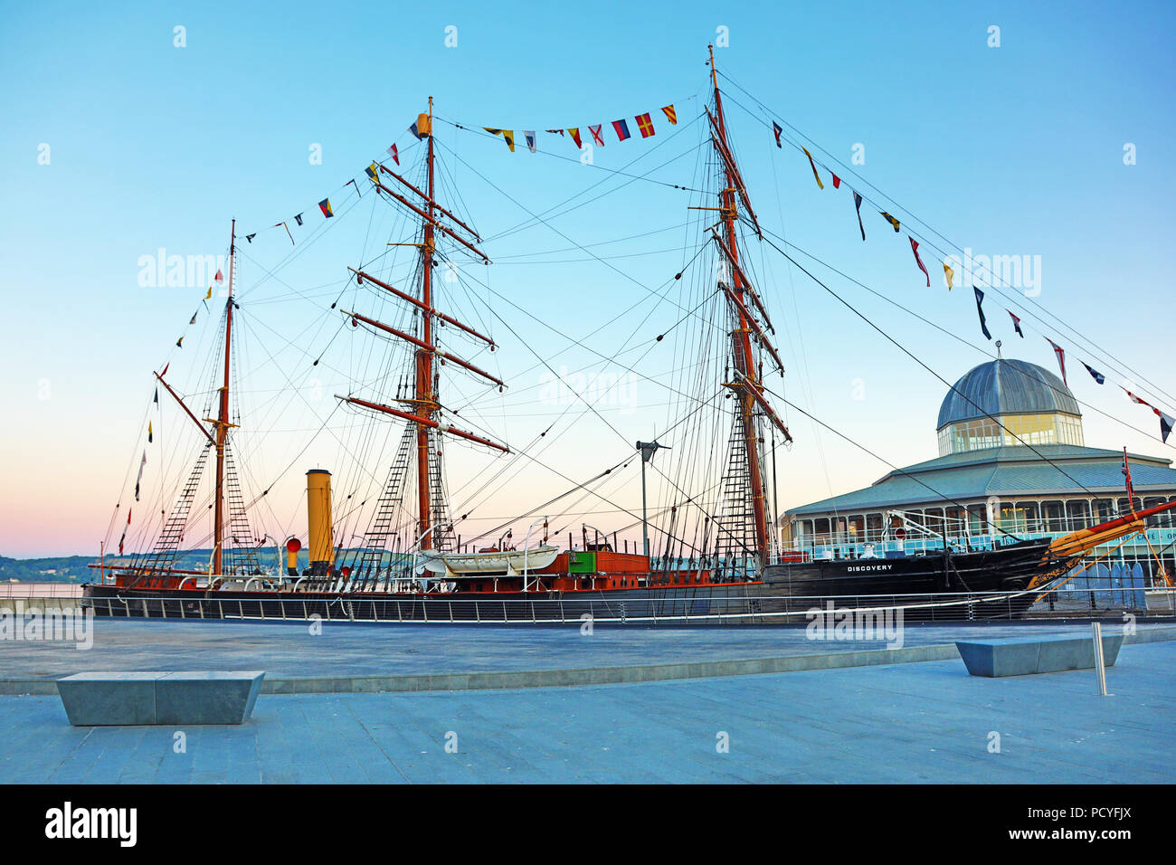 RRS Discovery polar exploration ship at Discovery Point, Dundee, Scotland - Stock Image