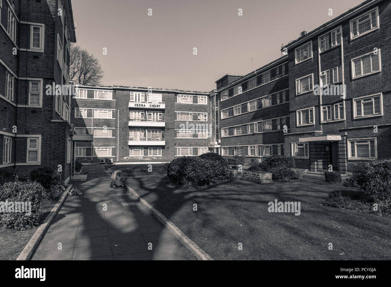 Cedra Court, a nondescript north London block of flats is infamous as the home to the notorious Kray twins, Ronnie and Reggie - Stock Image