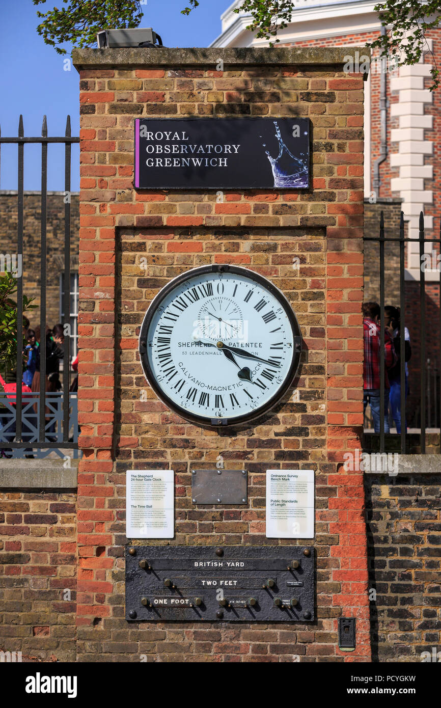 The Shepherd Gate Clock, an unusual 24-hour analogue clock, installed at the Royal Observatory, has been displaying GMT to the public since 1852 - Stock Image