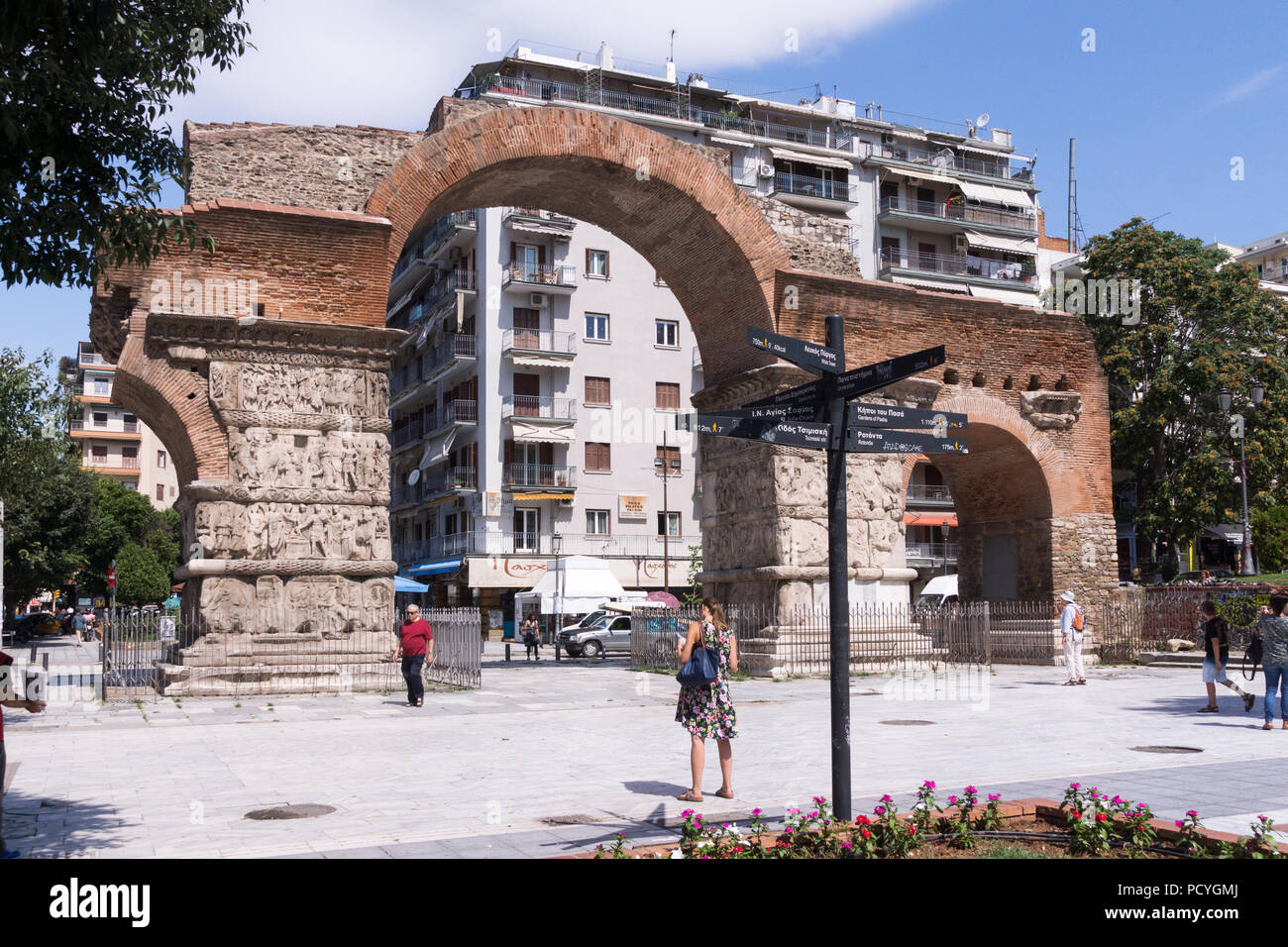 The iconic Arch of Galerius (Kamara) is perhaps the most distinctive roman structure in the city of Thessaloniki and a popular tourist attraction - Stock Image