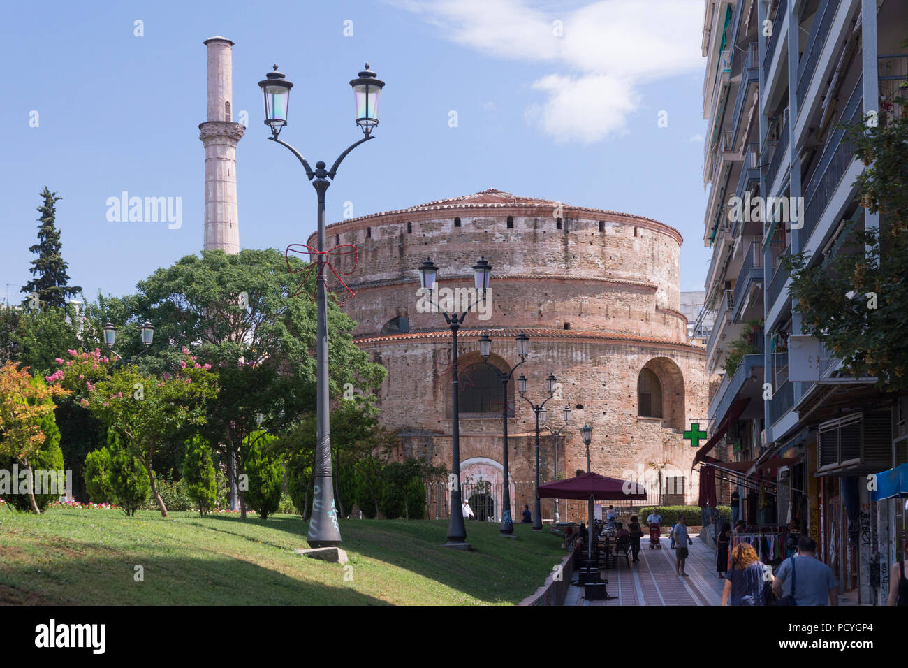 Built in 306 A.D. by the romans, the Rotunda of Galerius is one of the oldest religious sites of the city of Thessaloniki and a popular tourist site - Stock Image