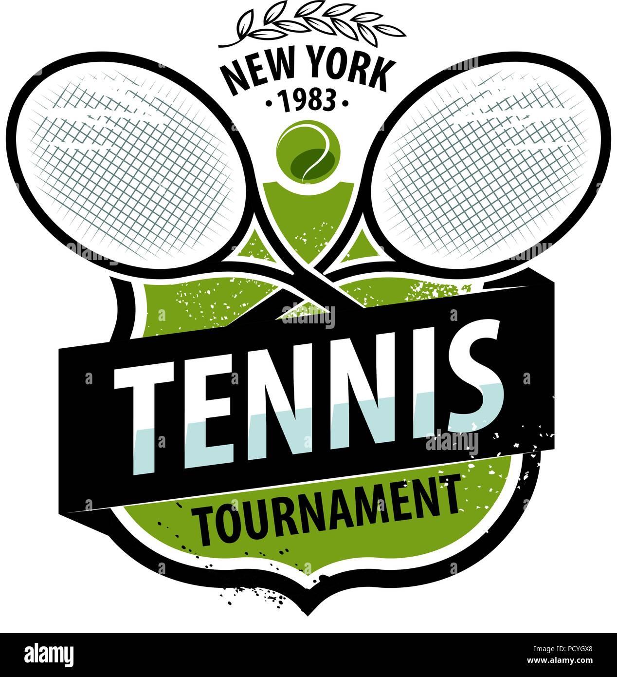Tennis Logo Or Label Sport Concept Vector Illustration Stock Vector Image Art Alamy
