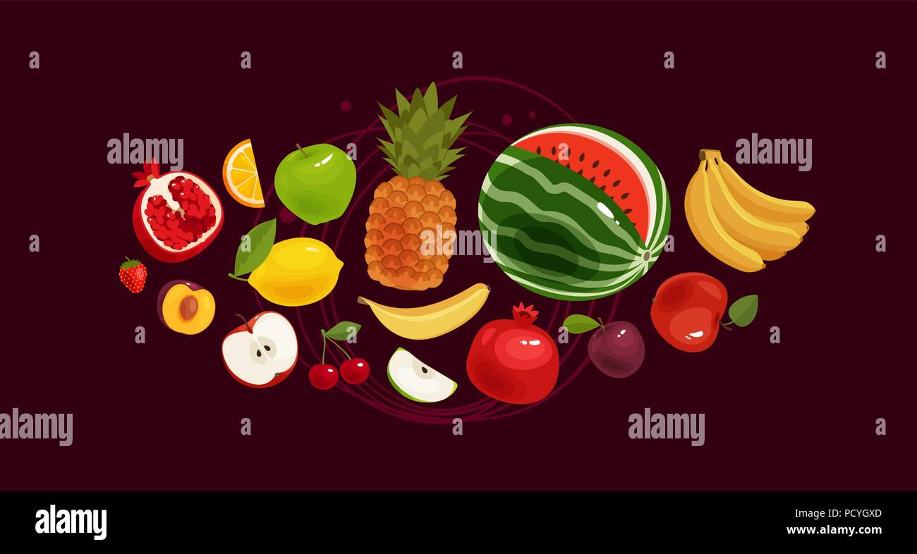 Fruits banner. Greengrocery concept. Vector illustration - Stock Image