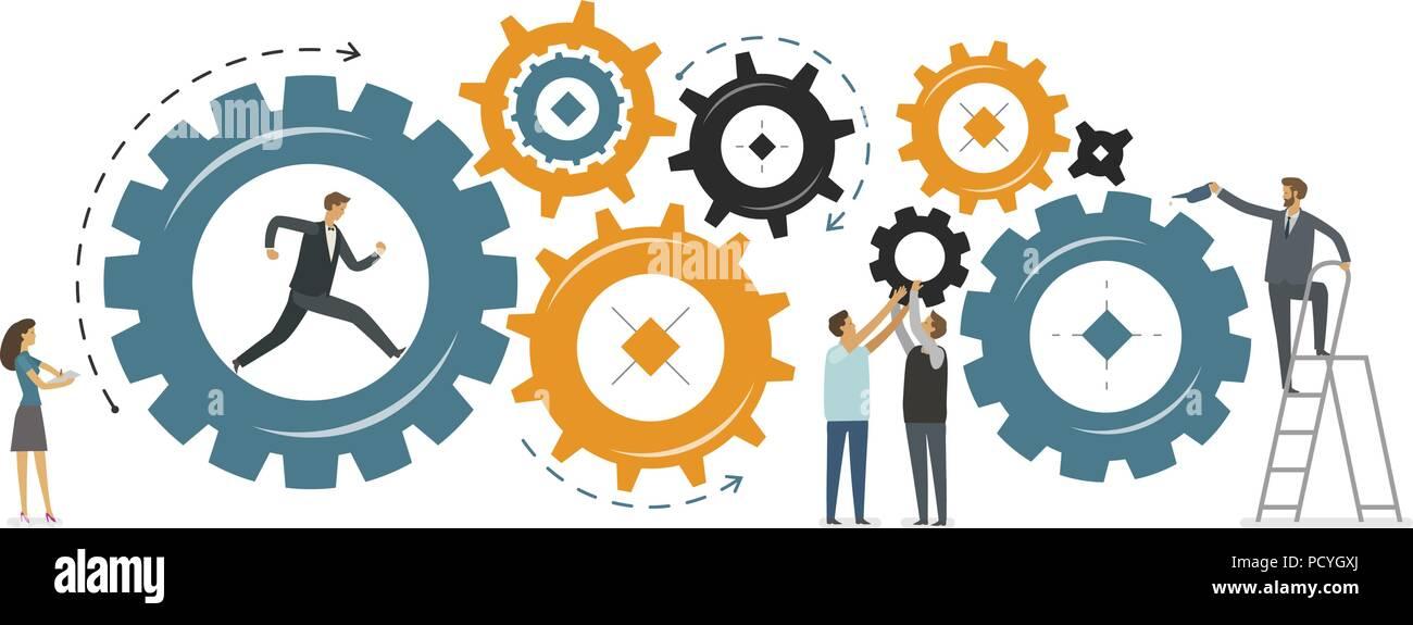Business development, teamwork concept. Vector illustration - Stock Vector