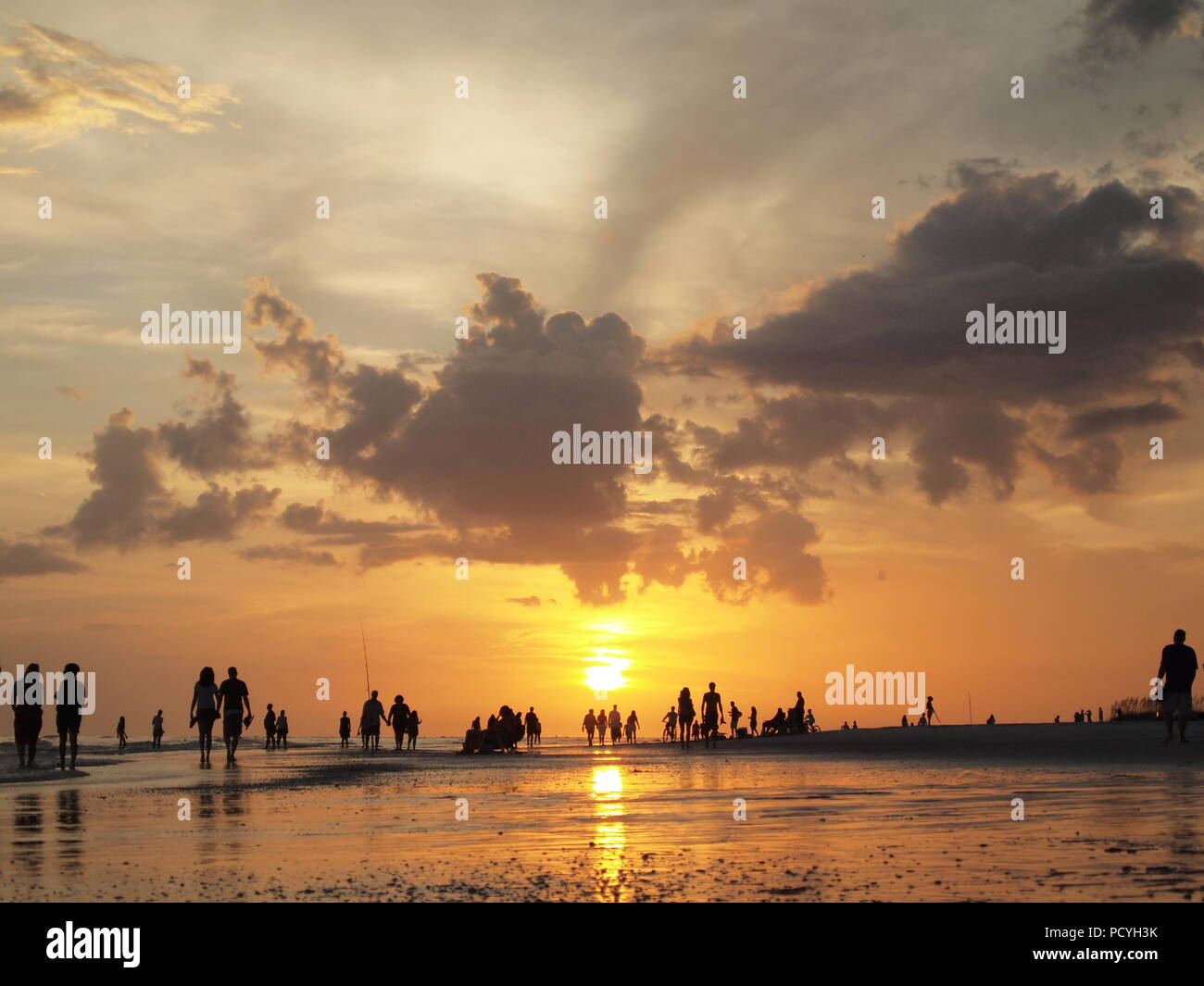 people walking on beach at sunset. low angle view with light effect silhouette of people enjoying nature - Stock Image