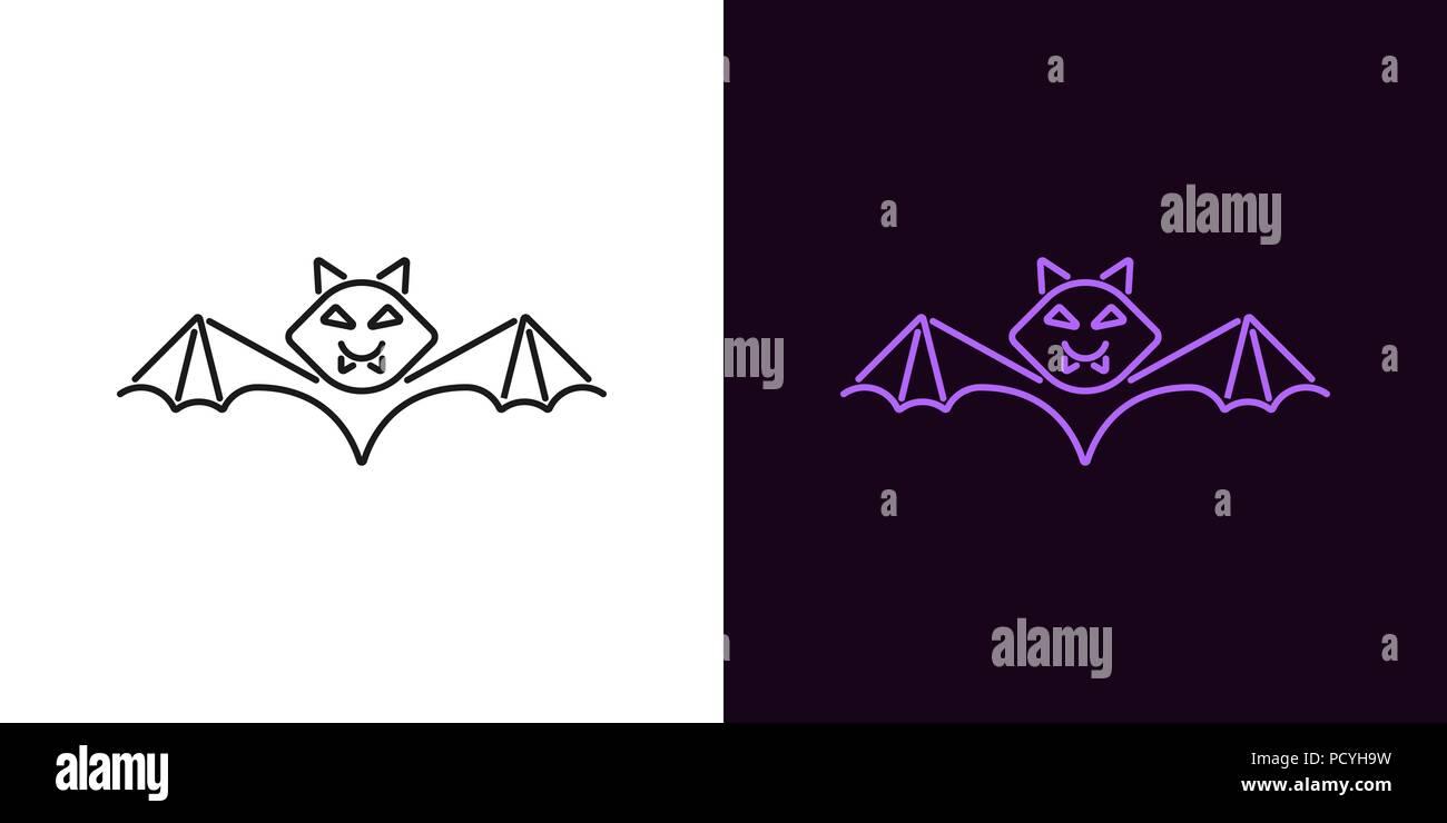 bat silhouette in outline style. vector illustration of bat for