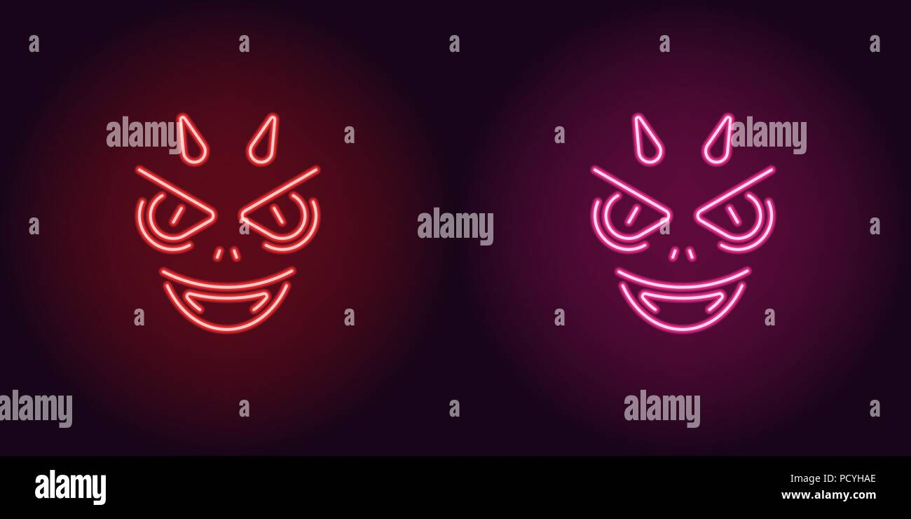 Neon Devil in Red and Pink color. Vector illustration of Demon face with horns and fangs for Halloween party in glowing neon style. Isolated graphic e - Stock Vector