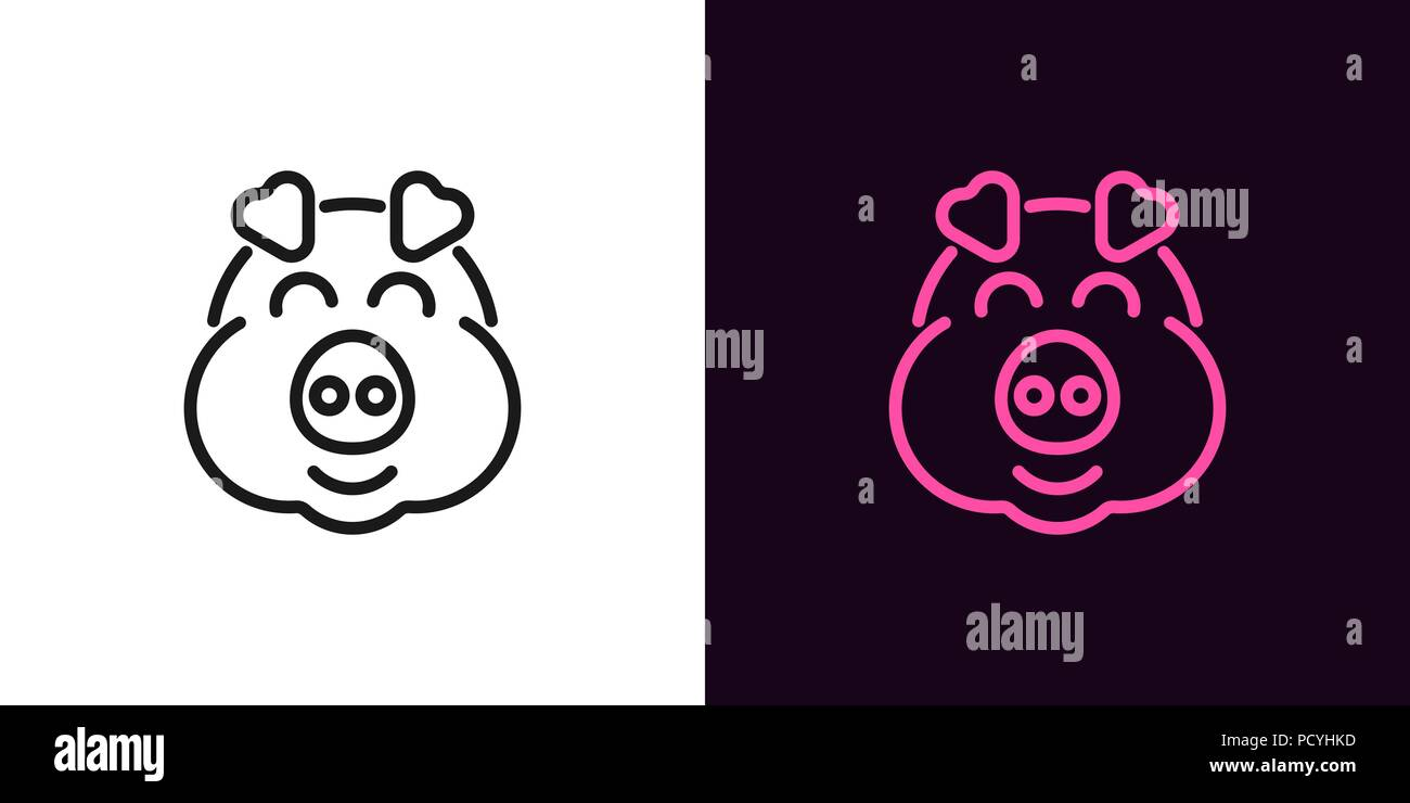 Piglet face with smile in outline style. Vector illustration icon of Cartoon pig head with smile in black and pink color. Isolated graphic element for - Stock Vector