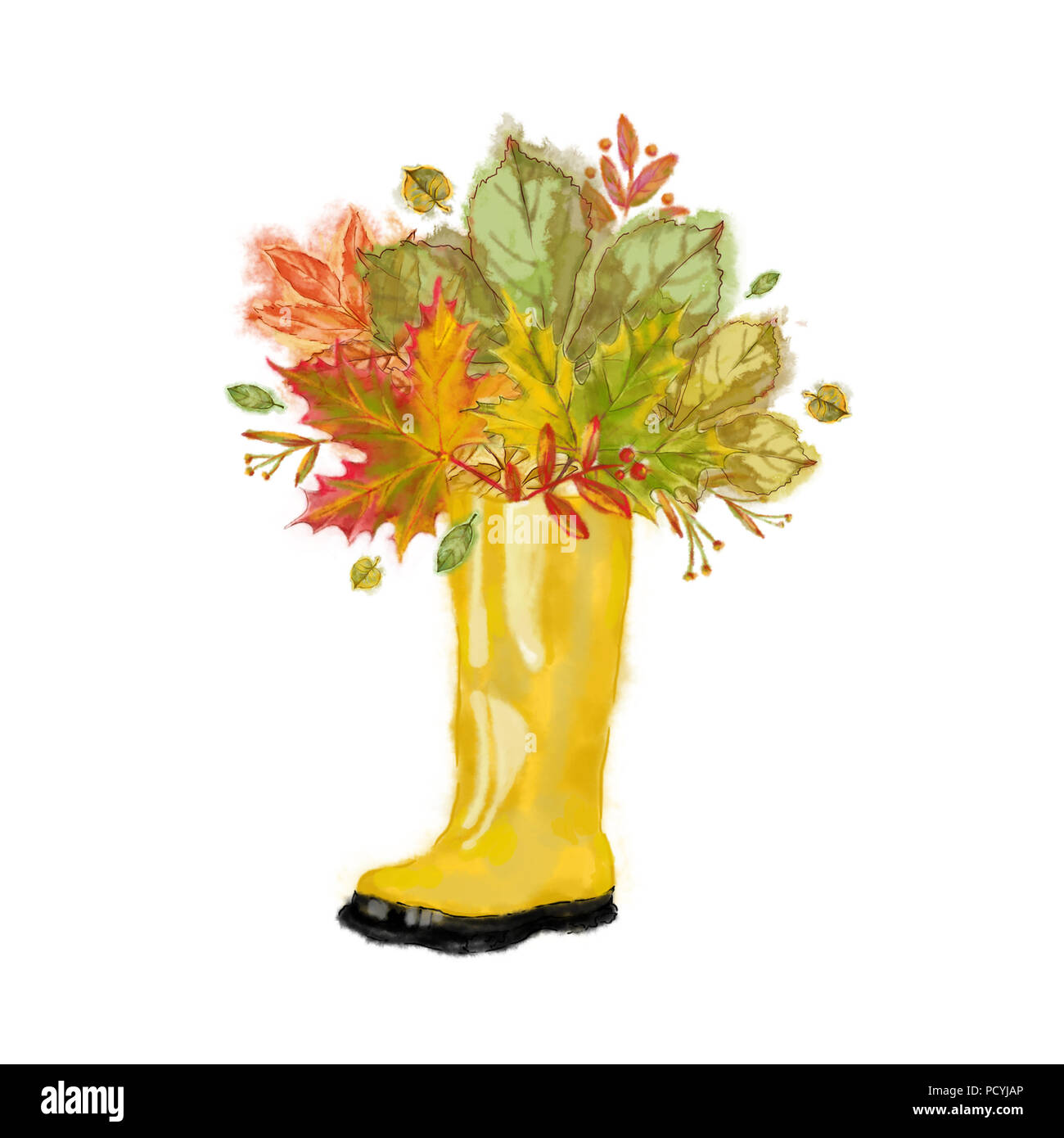 Autumn Leaves Arrangement in a Yellow Rubber Boot. Watercolor Autumnal Design Isolated on white Background. Great for Cards, Posters, Invitations etc. Stock Photo