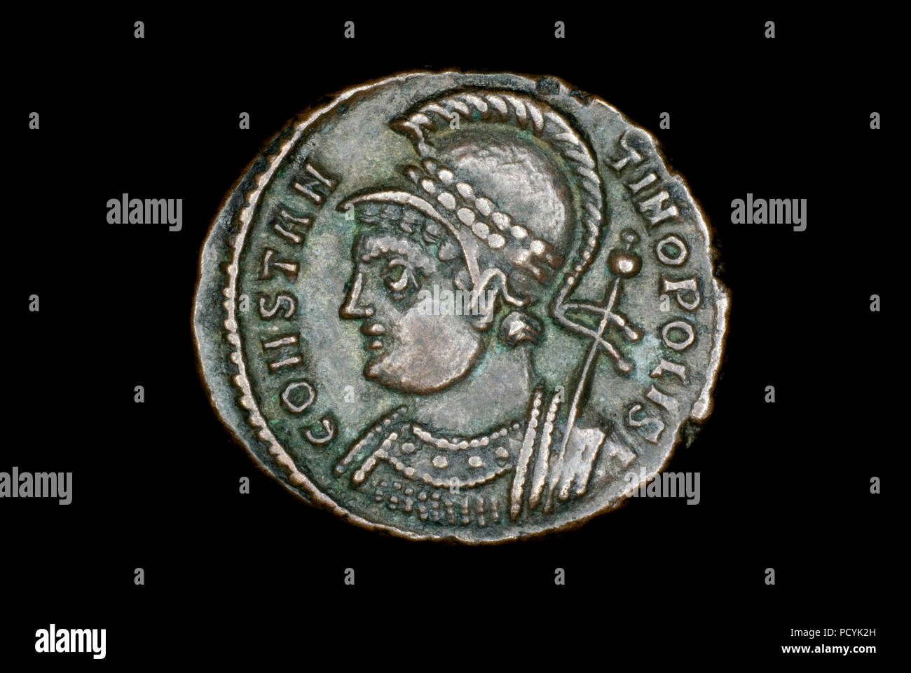 Roman city commemorative coin for the founding of Constantinople - Stock Image