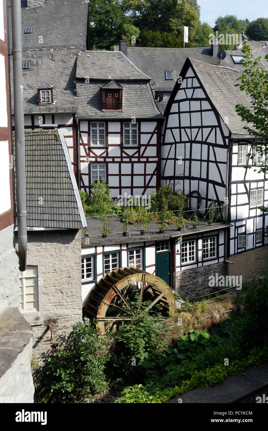 Watermill in Monschau on the river Rur in the Eifel, Germany. - Stock Image