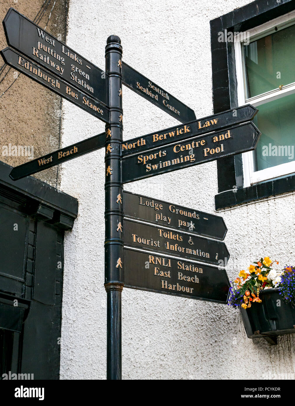 Signpost to points of interest for tourists, North Berwick, East Lothian, Scotland, UK - Stock Image