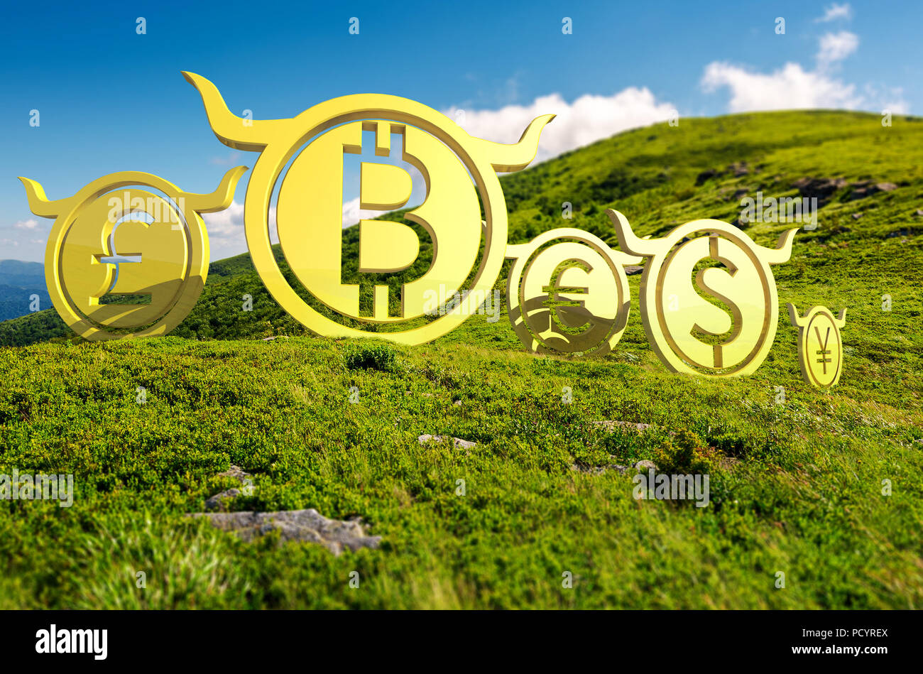 Bullish currency on the top of a hill. green summer mountain ascending trend. stand proud on the peaks at high noon. demanding or bull market concept. - Stock Image