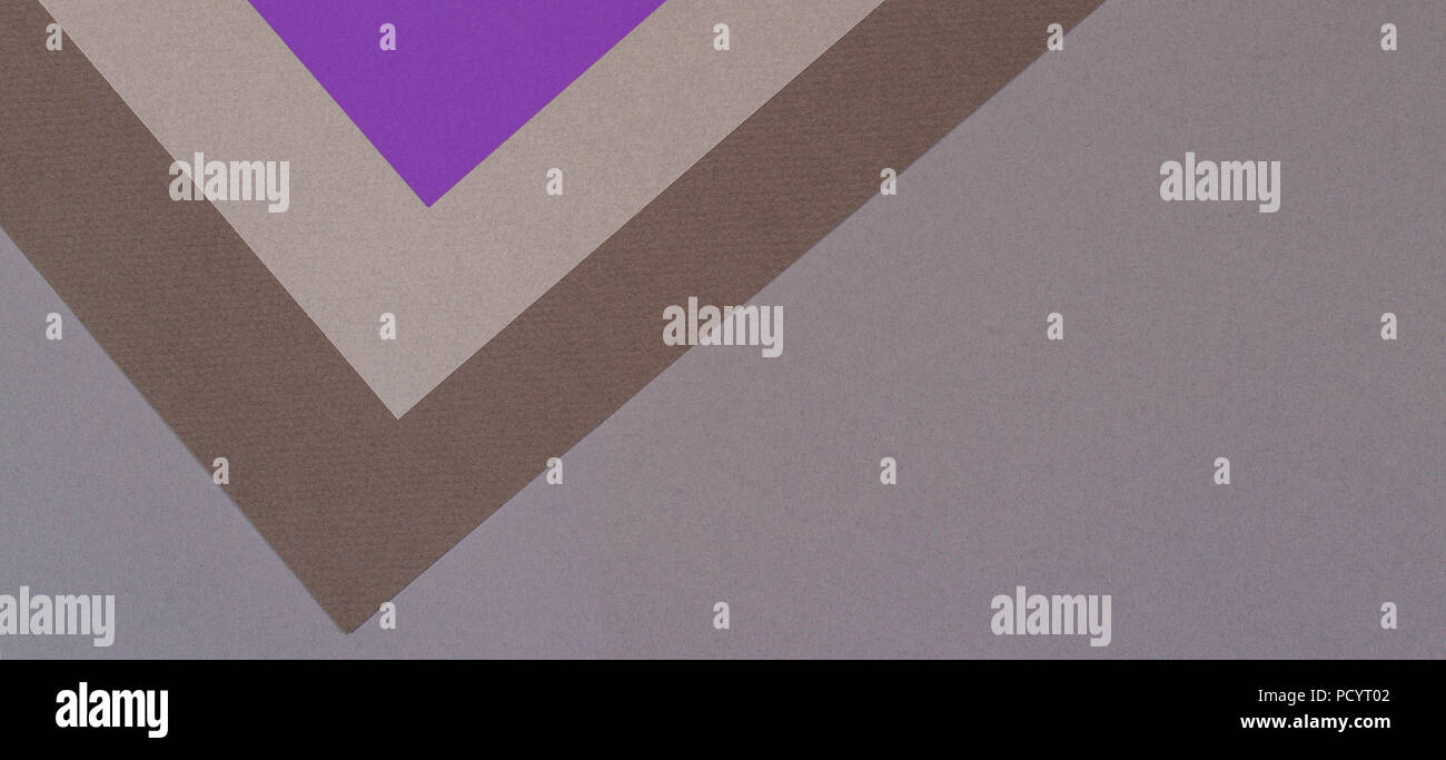 Color papers geometry composition background with gray beige violet brown tones - Stock Image