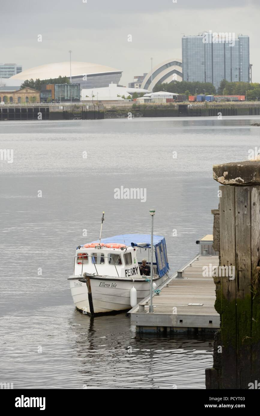The free summer time ferry running across the Clyde between Govan and Pointhouse Quay in Glasgow, Scotland, UK - Stock Image