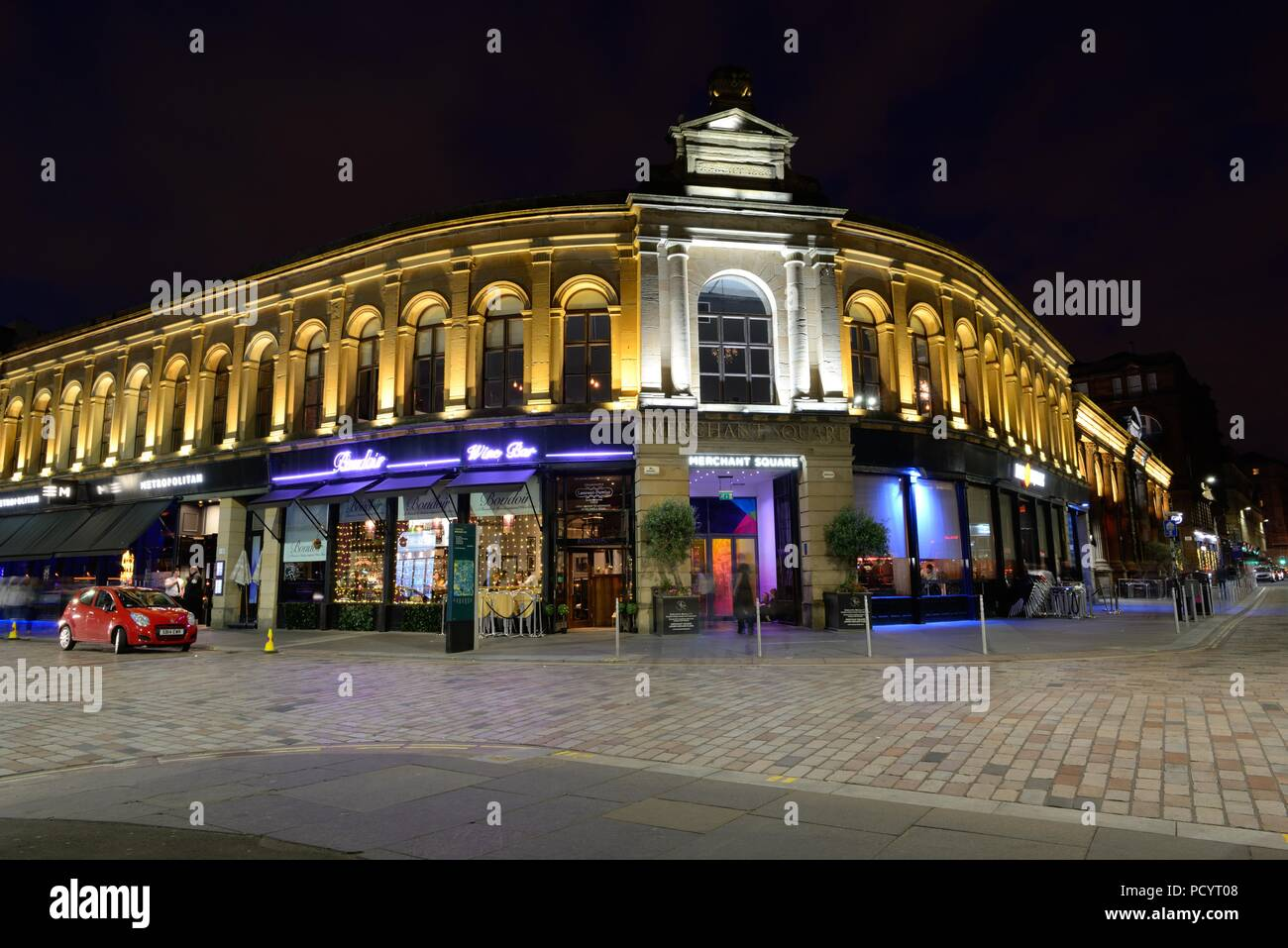 Merchant Square building illuminated at night in in the Merchant city area of Glasgow, Scotland, UK - Stock Image