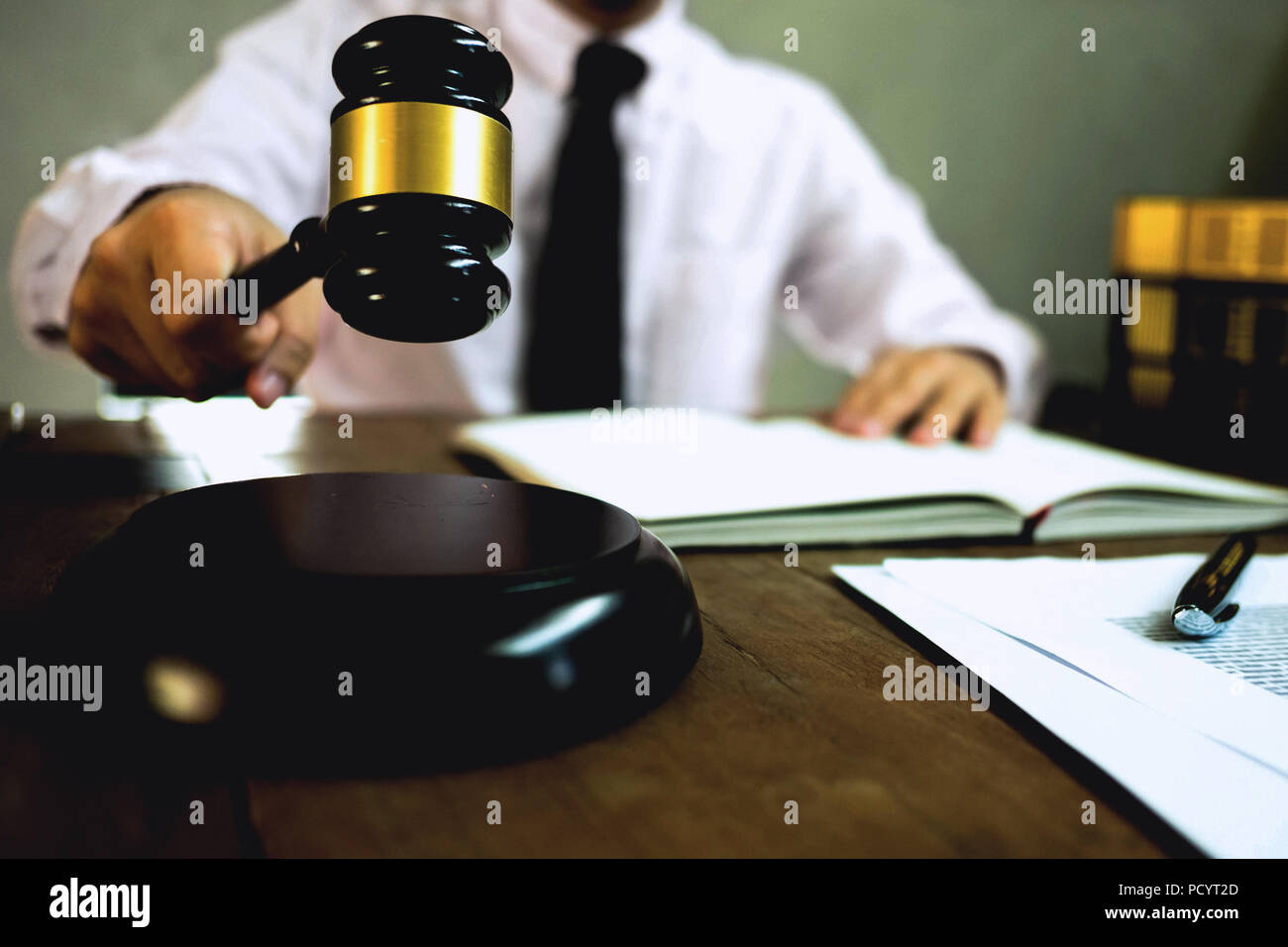 Judge with gavel on table. attorney, court judge,tribunal and justice concept. - Stock Image