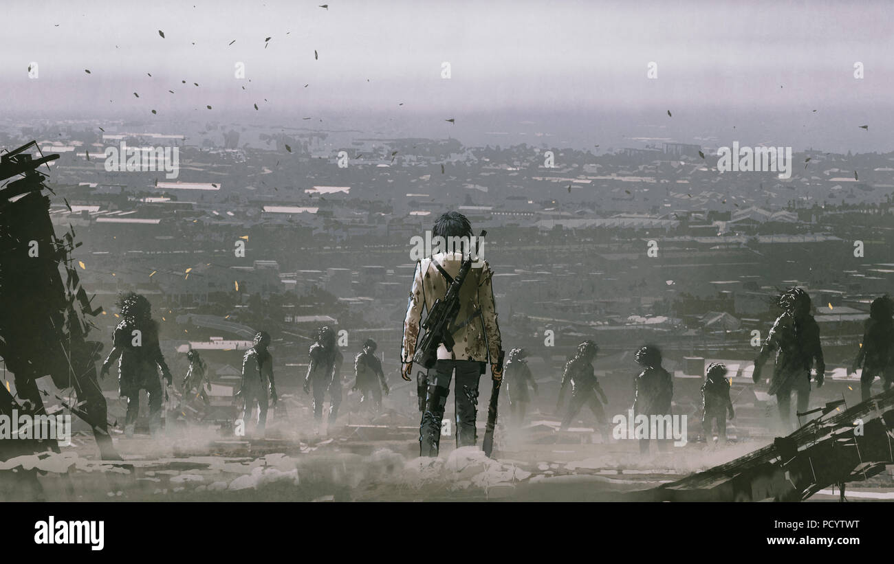man with weapons facing a crowd of zombies against post apocalypse world, digital art style, illustration painting - Stock Image
